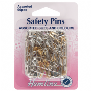 Hemline Safety Pins - Assorted Pack - Brass and Nickel - 96 pack